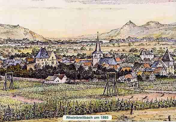 Ortsansicht mit Weinbergen und Drahtseilbahn