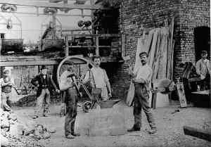 Schmiede der Seilbahn am Rhein im Jahr 1901